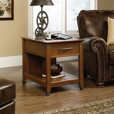 sauder carson forge side table carson forge smartcenter side table in washington cherry