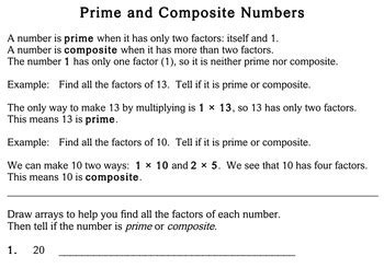 prime composite numbers 4th grade worksheets individualized math
