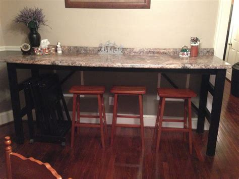 Bar for eating and extra kitchen counter space/buffet for