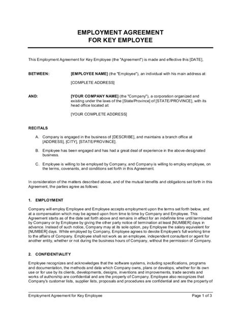 Employment Contract Template Word ~ Addictionary