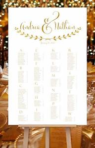 Wedding Seating Chart Poster For Reception In Andrea Gold
