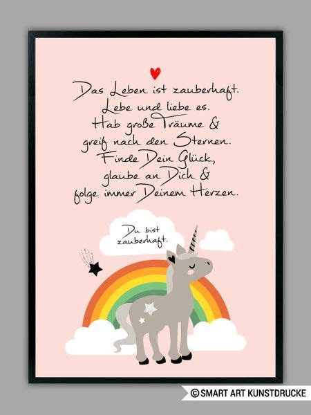originaldruck regenbogen einhorn  rosa kunstdruck ein designerstueck von smart art
