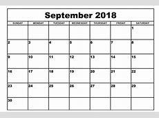 Free Printable September 2018 Blank Calendar – Printable