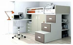 Lit Fille Avec Rangement : lit mezzanine ado avec bureau et rangement ~ Melissatoandfro.com Idées de Décoration