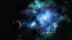 Wallpaper turquoise and blue nebula on background free ...