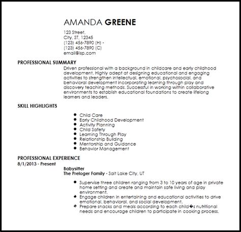 Nanny Resume Template by Free Entry Level Nanny Resume Templates Resumenow