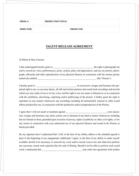 complete guide  actor release forms  template