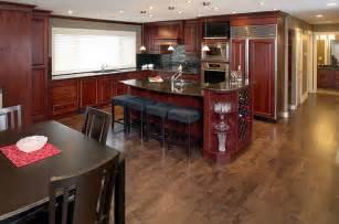 dark stain maple hardwood floor contemporary kitchen