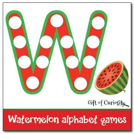 watermelon printables pack  images alphabet games
