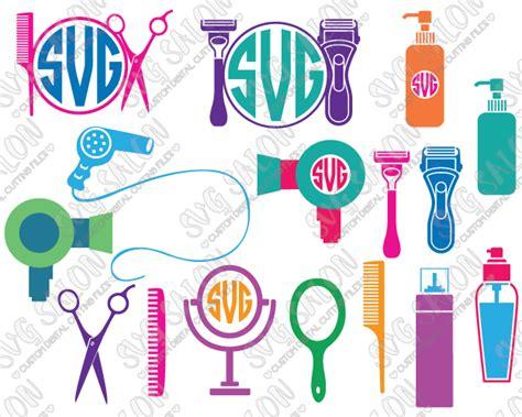 hairdresser barber monogram frame custom diy cutting file set  svg eps dxf jpeg  png