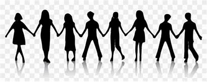 Holding Hands Background Clipart Friends Transparent Silhouette