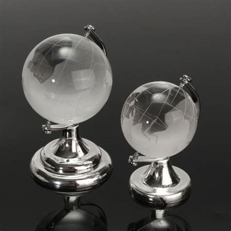 crystal glass frosted world globe paperweight desk