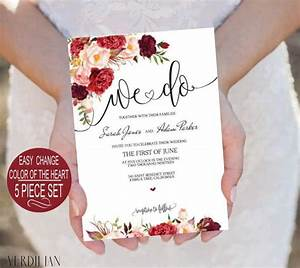 burgundy flowers watercolor floral we do wedding With 5 piece wedding invitations