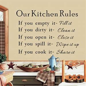 Hot sale our kitchen rules quotes vinyl art wall stickers for Kitchen colors with white cabinets with funny wall art quotes