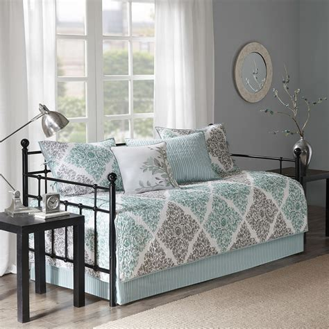 35785 day bed comforters 6pc aqua grey leaf quilted daybed set and
