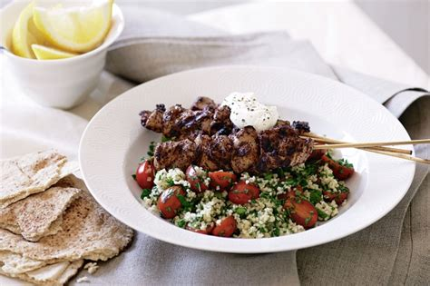 sumac cuisine sumac kebabs on couscous tabouli recipe lebanese recipes