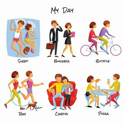 Lifestyle Cartoon Routine Daily Vector Typical Symbols