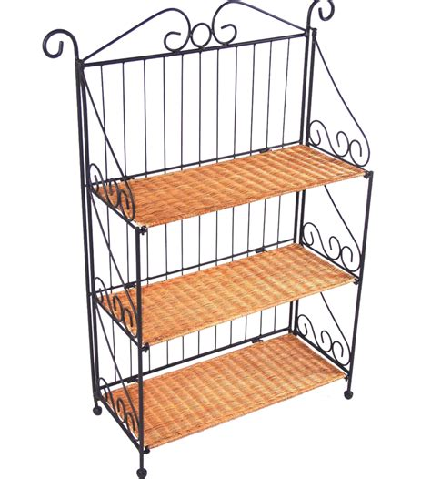Iron Bookcases by 3 Tier Wicker And Iron Bookcase In Bookcases