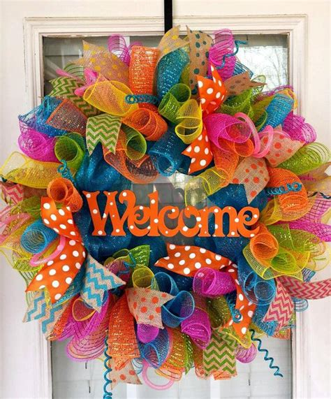 craft ideas for gifts orange welcome deco mesh wreath by 6275