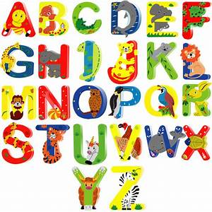 Animal wooden alphabet letters for children names on doors or for Kids name letters