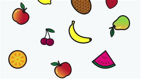 Fruits Icons Animation For Menu, Web Sites And Apps