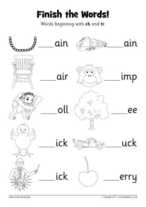 finish  words worksheets ch  tr sb