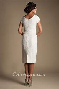 Fitted Cap Sleeve Tea Length Modest Informal Lace Wedding ...