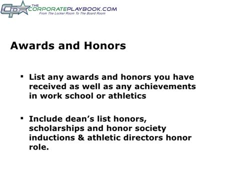How To List Honors And Awards On Resume by Athletes Resume