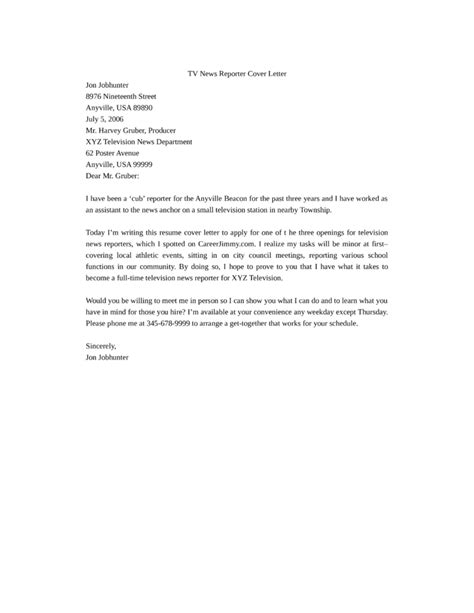 tv news reporter resume tv news reporter cover letter sles and templates