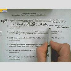 Boyle's Law, Charles's Law And Combined Gas Law Homework Problemsavi Youtube