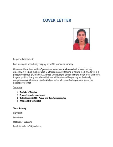 resume format  nursing staff cover letter samples
