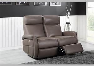 Acheter votre canape 2 places en cuir taupe avec relax chez simeuble for Tapis exterieur avec canape taupe cuir