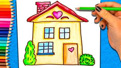 como dibujar  colorear una casa aprender  colorear casa youtube