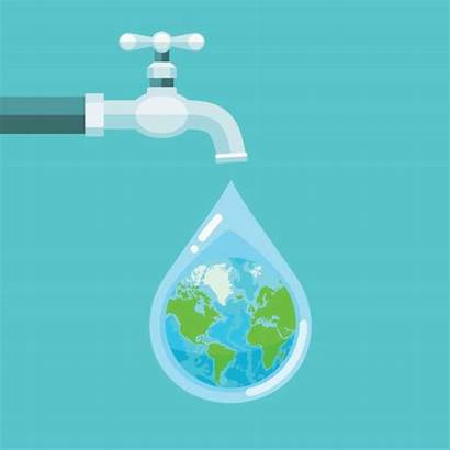 Water Conservation Tap Vector Background Drop Earth