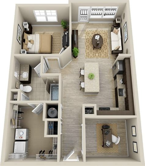 chambre 3d plan 3d appartement 1 chambre 50