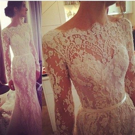 Boat Neck Gown Cutting by New Sheer Lace Wedding Dress Boat Neck Sleeve White