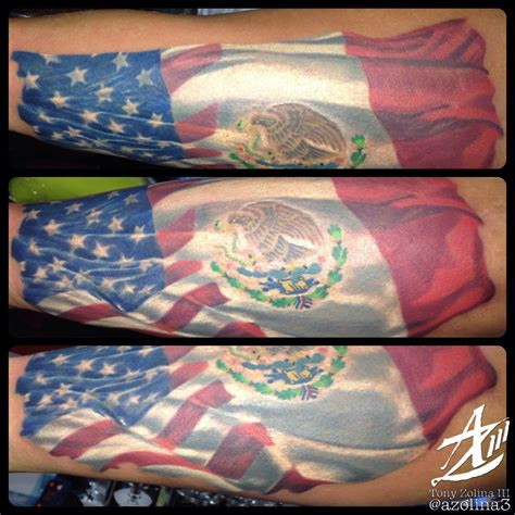 American/Mexican flag on forearm | Mexican tattoo, Mexican ...