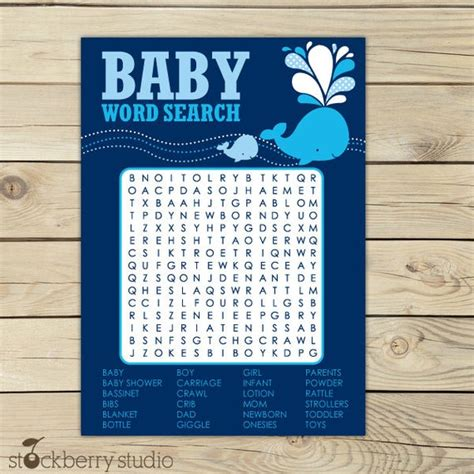word for shower whale baby shower navy blue printable word by stockberrystudio