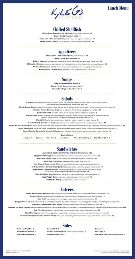 kyle gs seafood steak restaurant hutchinson island menu