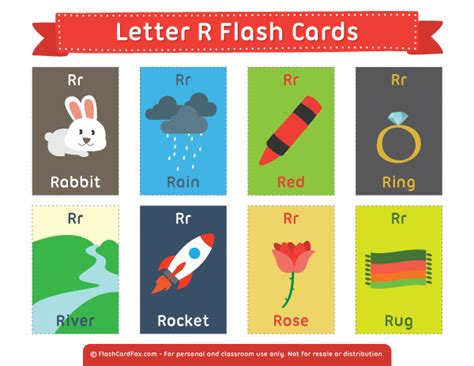 Printable Letter R Flash Cards