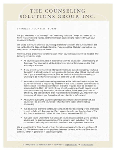 informed consent form counseling templates fillable printable sles for pdf word pdffiller