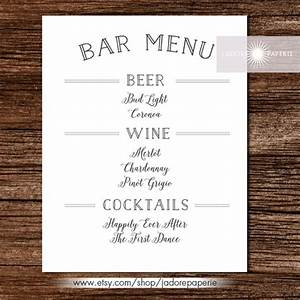 24 bar menu templates free sample example format With wedding drink menu template free