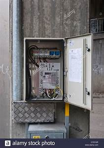 Outdoors Electrical Junction  Connection Or Fuse Box Open For Passers Stock Photo  51323127