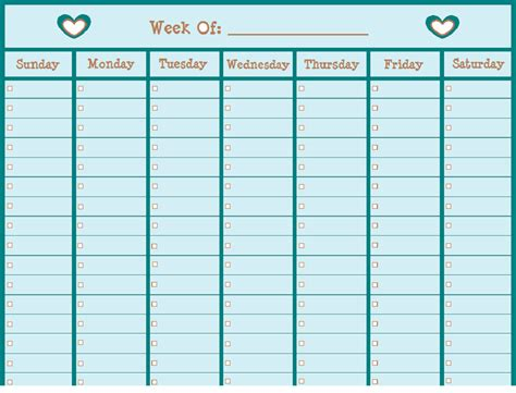 Blank Weekly Calendar for Usage   Educative Printable