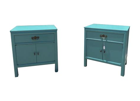 Teal Nightstand by Mid Century Teal Nightstands A Pair Chairish
