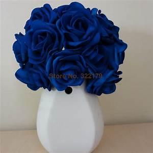 100X Artificial Flowers Royal Blue Roses For Bridal