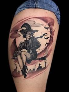 lono:black-and-gray-tattoo-pinup-girl-tattoos-witch-halloween