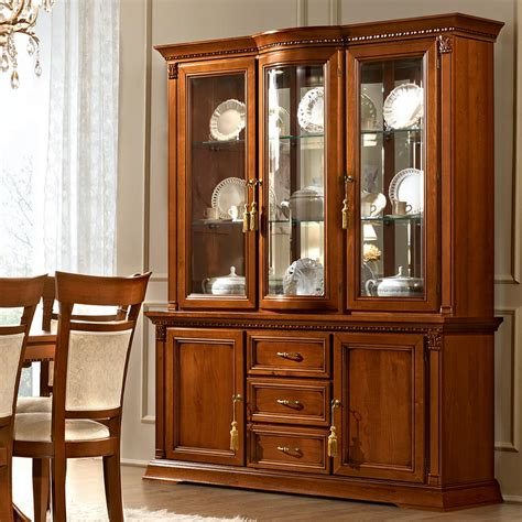 Sideboard And Display Cabinet by Treviso Ornate Cherry Wood 2 Door 3 Drawer Sideboard