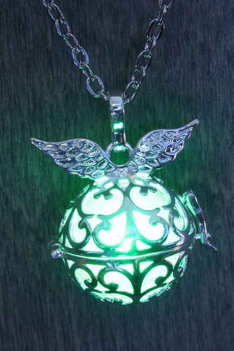 Winged orb glowing pendant, Fairy glow Jewelry, Silver ...