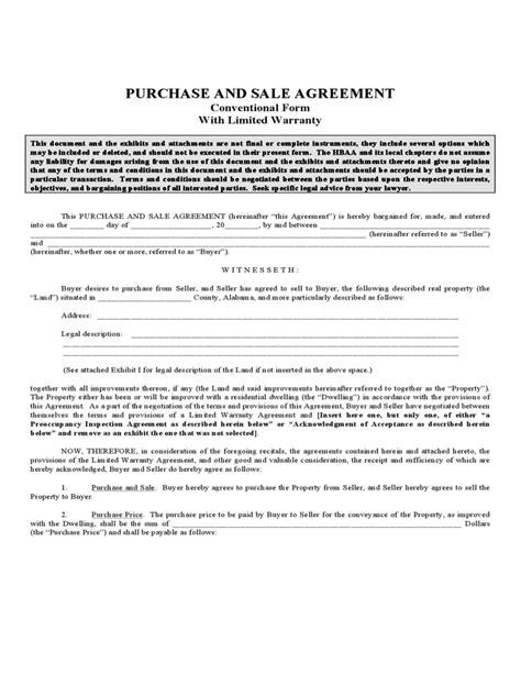 purchase  sales agreement alabama